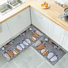 shujin küchenteppich küchenläufer küchenmatte dekoläufer für küche flur teppich läufer waschbar rutschfeste fußmatte praktische reinigung 2 stück