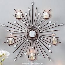 Metal Wall Art DecorThe Sun Mirror Candlestick Decor