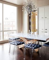 Dining Room Centerpiece Images by Splashy Lucite Chairsin Dining Room Contemporary With Killer Table