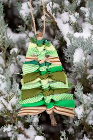 Scrap Ribbon Christmas Tree Ornament Hanging On A