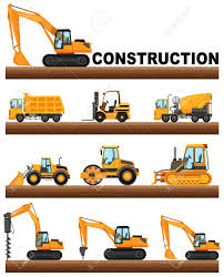 Different Types Of Construction Trucks On The Ground Illustration ...