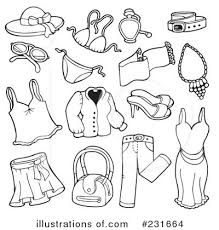Summer Clothes Clipart Black And White 8