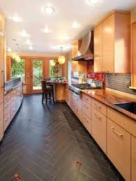 Kitchen Floor Ideas Pictures Decor Flooring With Oak Cabinets Light Tile Design
