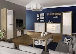 easy möbel wohnzimmer komplett set b madryn 7 teilig farbe eiche sonoma weiß hochglanz