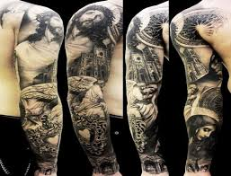 Black And Grey Religious Jesus With Angel Tattoo On Right Full Sleeve