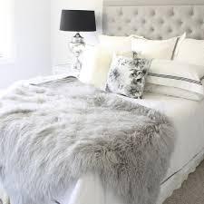 Grey Mongolian Fur Tibetan Sheepskin Throw Blanket Bed Faux Fur