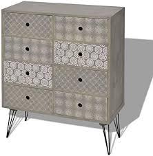 festnight retro design sideboard schubladenkommode kommode mit 8 schubladen highboard für schlafzimmer wohnzimmer grau