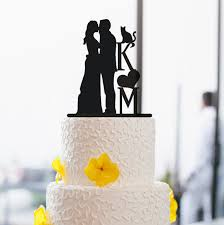 Silhouette Kiss Cake Topper Custom Couples Initial For Wedding With Cat Rustic Decor 54787