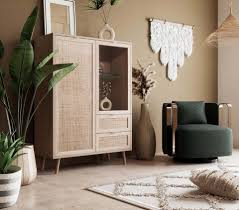 newroom highboard mila highboard sonoma eiche rattan optik modern boho sideboard kommode anrichte schrank skandinavisch wohnzimmer schlafzimmer