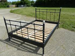 Svelvik Bed Frame by Ikea Svelvik Black Metal Double Bed Frame Excellent Condition Ebay