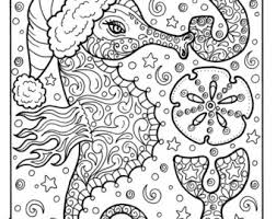 Sea Horse Christmas Coloring Page Adult Holidays Beach Decor