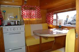 Perfect Restoration Of The Stove And Dinette Area In A 1955 Aljoa Vintage Canned Ham Trailer