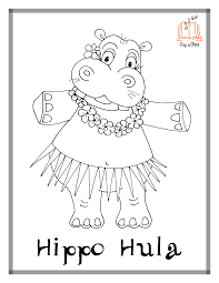 Hippo Hula Coloring Pages