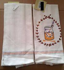 Item 4 2 Pc Of Rare EMBROIDERED KITCHEN TOWELS 100 Cotton15 X 25 A JAR HONEY