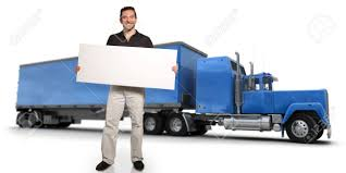 100 Big Blue Truck A Man Holding A Blank Message Board With A On Stock
