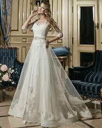 Fancy Wedding Dresses 2017 Vestidos De Novia A Line Lace Dress With Sleeves Bead Belt