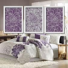 Purple Gray Bedroom Wall Art Bathroom Pictures Flower