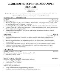 Warehouse Supervisor Resume Examples Samples
