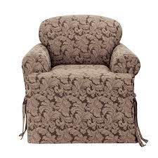 Sure Fit Stretch T Cushion Sofa Slipcover by Amazon Com Sure Fit Scroll T Cushion Chair Slipcover Brown