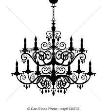 Baroque Chandelier Silhouette Decorative