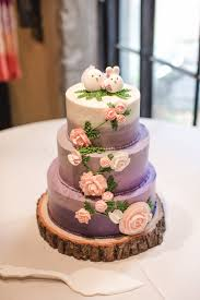 Three Tier White and Purple Ombre Wedding Cake