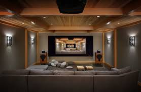 Man Cave Rustic Home Theater Seattle by Deering Design