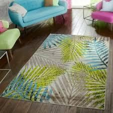 details zu wohnzimmer teppich modern preiswert palmenblätter design braun beige grün blau