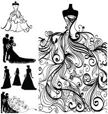 Bridal Gown Silhouettes Clipart 13