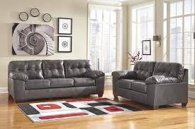 Ashley Furniture Tufted Sofa Gray Leather Oversized Pillow Arms