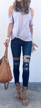 Summer Outfits Grey Cold Shoulder Top Destroyed Skinny Jeans Studded Sandals
