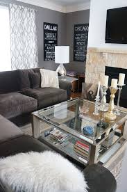 Marvelous Rustic Glam Living Room Black Letter L Velvet Couch Mirror Frame Square Glass Table Grey Wall
