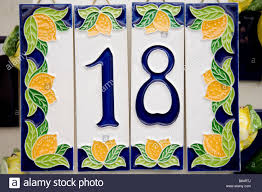 house number 18 and lemons on a ceramic tile for sale with price