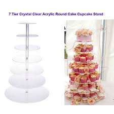 7 Tier Clear Circle Round Cake Stand Displaying Cupcakes Wedding