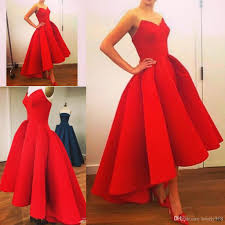 hi lo red evening dresses ball gown 2016 real sample sweetheart