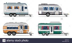 Side View Camping Trailers Isolated On White Background Car RV Trailer Caravan Motorhome