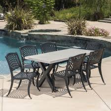 Corby Outdoor 7 Piece Dining Set With Rectangular Table And Aluminum Dining  Chairs, Sand, Black, White Zuo Mayakoba White Stationary Alinum Outdoor Ding Chair 2pack Best Patio Fniture And Metal Garden Table Folding Lofty Clearance Epic Wrought Iron Sets Chair Lisa White Breeze Ding Chair Shiaril 5 Pc And Navy Set Setting Chairs Wicker Room Resin Modern Cushions Of 20 High Gloss By Andre Putman For Emeco Mamagreen Sr Hughes Grace 6 Seater Warehouse