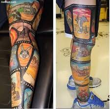Another Best Animated Leg Tattoo Of Film Strip