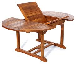 All Things Cedar 6 Teak Patio Oval Extension Table With