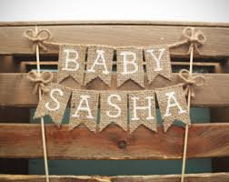 Personalized Name Baby Shower Cake Topper Rustic