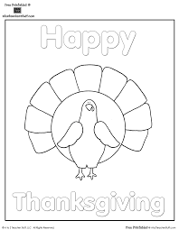 Turkey Coloring Page Happy Thanksgiving