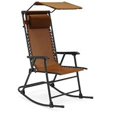 Folding Rocking Chair Portable Outdoor Rocker Porch Zero Gravity Patio  Furniture W/Sunshade Canopy And Pillow