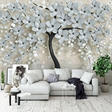 vlies fototapete baum 3d effekt blumen abstrakt beige pflanzen wohnzimmer