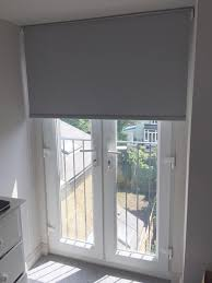 French Patio Doors With Internal Blinds by Blackout Roller Blind In Flint Colour To French Doors For A House