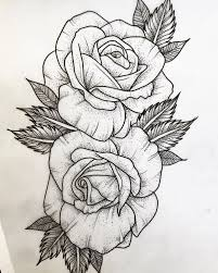 Great Rose Tattoo Outline Designs 68 With Additional Design