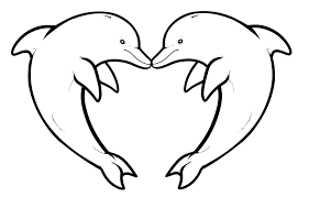 Dolphin Coloring Pages Heart Shaped