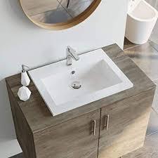 festnight granitbecken bad waschbecken mit überlauf rechteckig waschschale aufsatzwaschbecken badezimmer handwaschbecken weiß granit 600 x