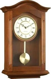 Long Wall Clocks Lc Designs Walnut Finish Wooden Pendulum Clock With Westminster Chime 25054 Modern