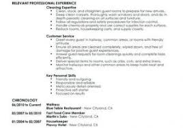 Hotel Housekeeping Resume Sample From Laundry Attendant Excellent Examples For