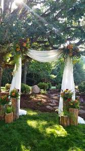 Back Yard Ceremony Setting By Savvy Sisters Inc Woods Wedding CeremonyOutdoor