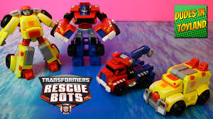 Rescue Bots Transformers Toys: Optimus Prime Tow Truck, Heatwave ...